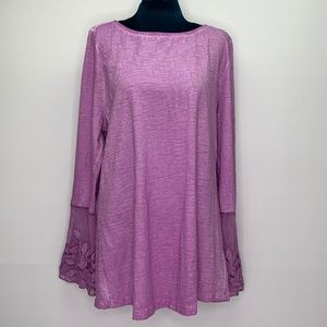 Soft Surroundings Large Lace Cuff Tunic Top Purple